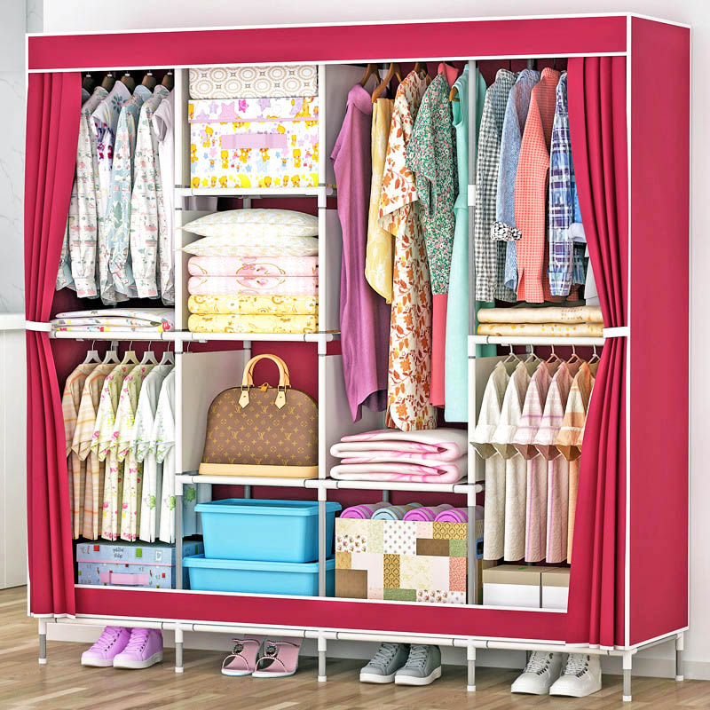 Folding combination cloth wardrobe bold reinforcement steel pipe rack large-capacity multi-functional storage cabinet furniture