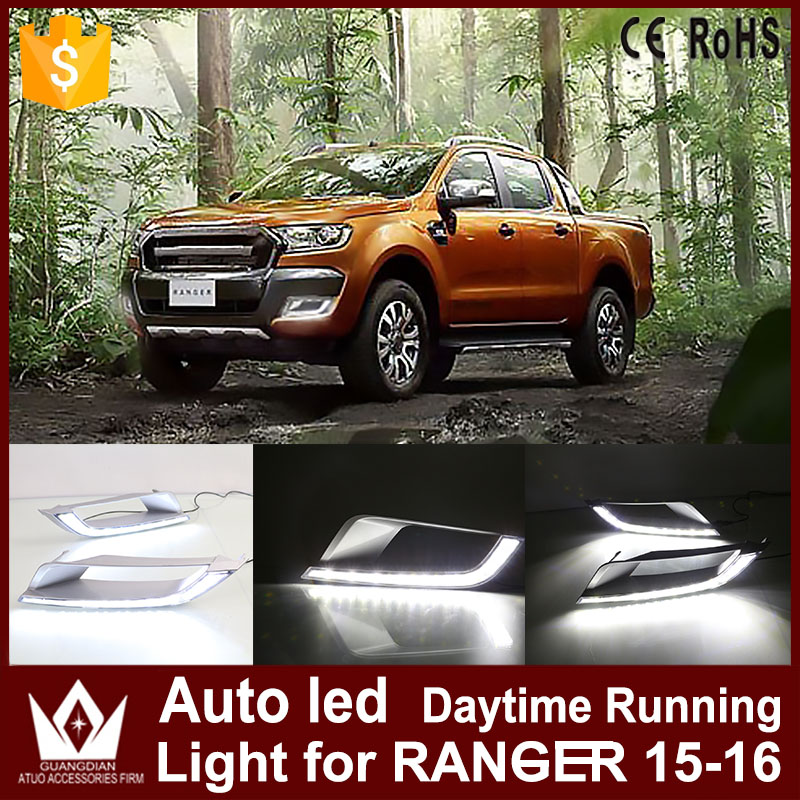 High Power 1Set Car LED Daytime Running Lights DRL For Ford Ranger 2015 2016 Auto Only White Fog Lamp LED Front Bumper Headlight high quality h3 led 20w led projector high power white car auto drl daytime running lights headlight fog lamp bulb dc12v