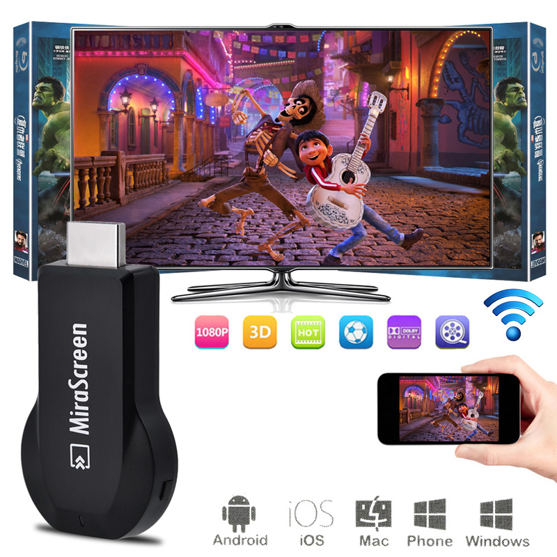 Mirascreen OTA TV Stick TV Dongle Receiver Smart TV HD 1080P Video Displayer Chromecast DLNA Airplay Miracast Airmirroring