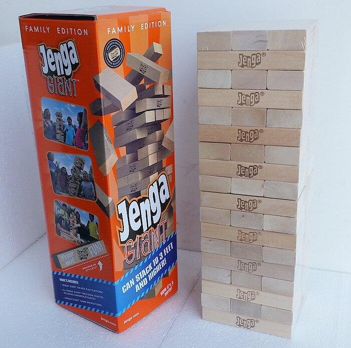 54 pièces Plus Grand Plus Grand En Bois Jenga Géant Jeu Pile Blocs blocs de construction de Bois Franc Jeu Piles à 5 + pieds. Âges 6 + Adultes