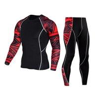 Muscle Men 3D Stampe Compressione Shirt T-Shirt Maniche Lunghe Termica Under Top MMA Rashguard Lo Strato Basso Fitness Sollevamento Pesi