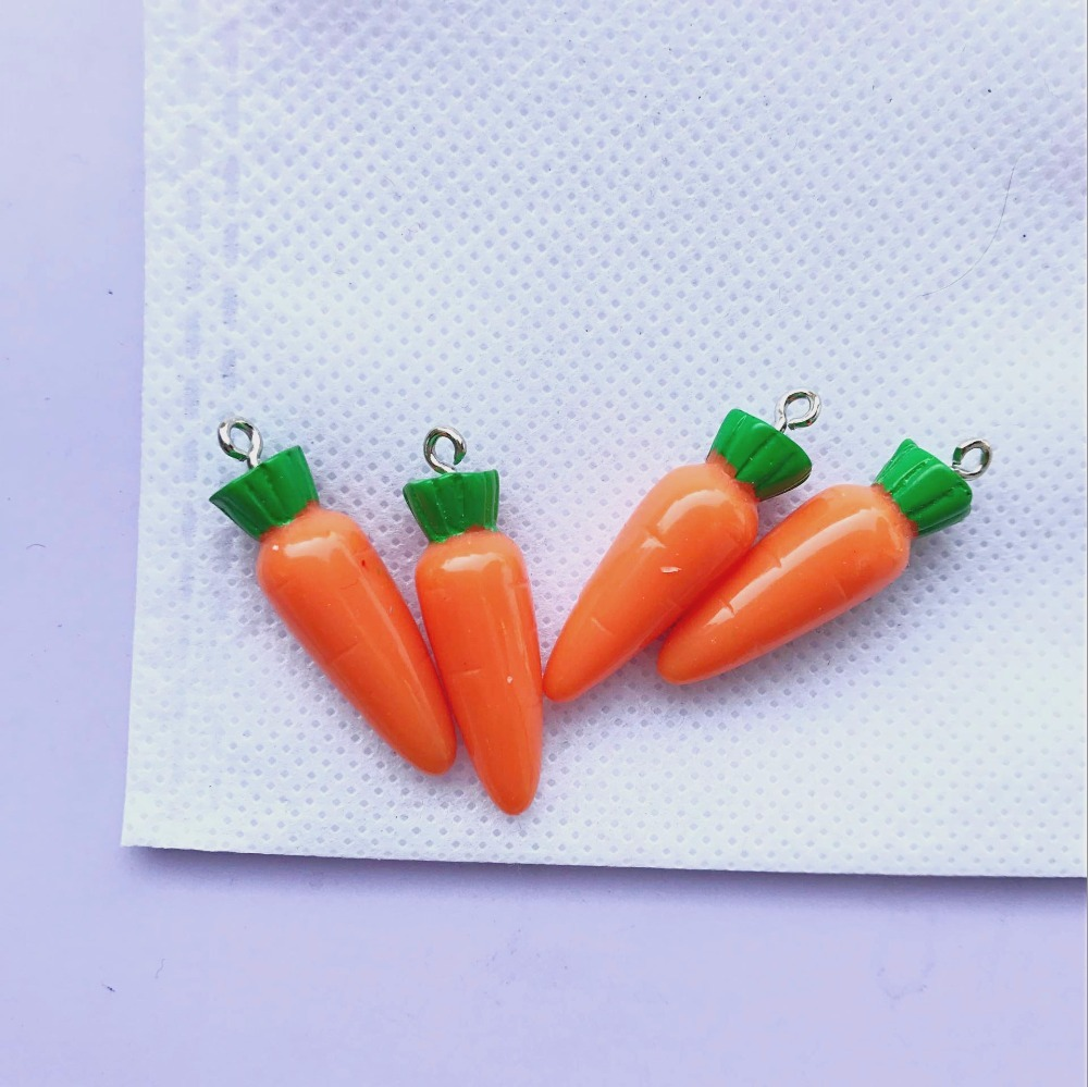 Orange Enamel and Rhinestone Charms 5 Carrot Charms Carrots Pendants