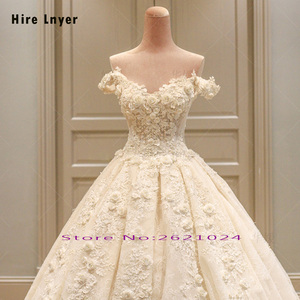 Image 3 - HIRE LNYER Custom Made Off The Shoulder Short Sleeve Beading Appliques Lace Flowers Princess Ball Gown Wedding Dresses Plus Size