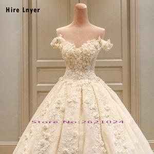 Image 3 - לשכור LNYER תפור לפי מידה כבוי כתף שרוול קצר ואגלי אפליקציות תחרה פרחי נסיכת כדור שמלת חתונת שמלות בתוספת גודל