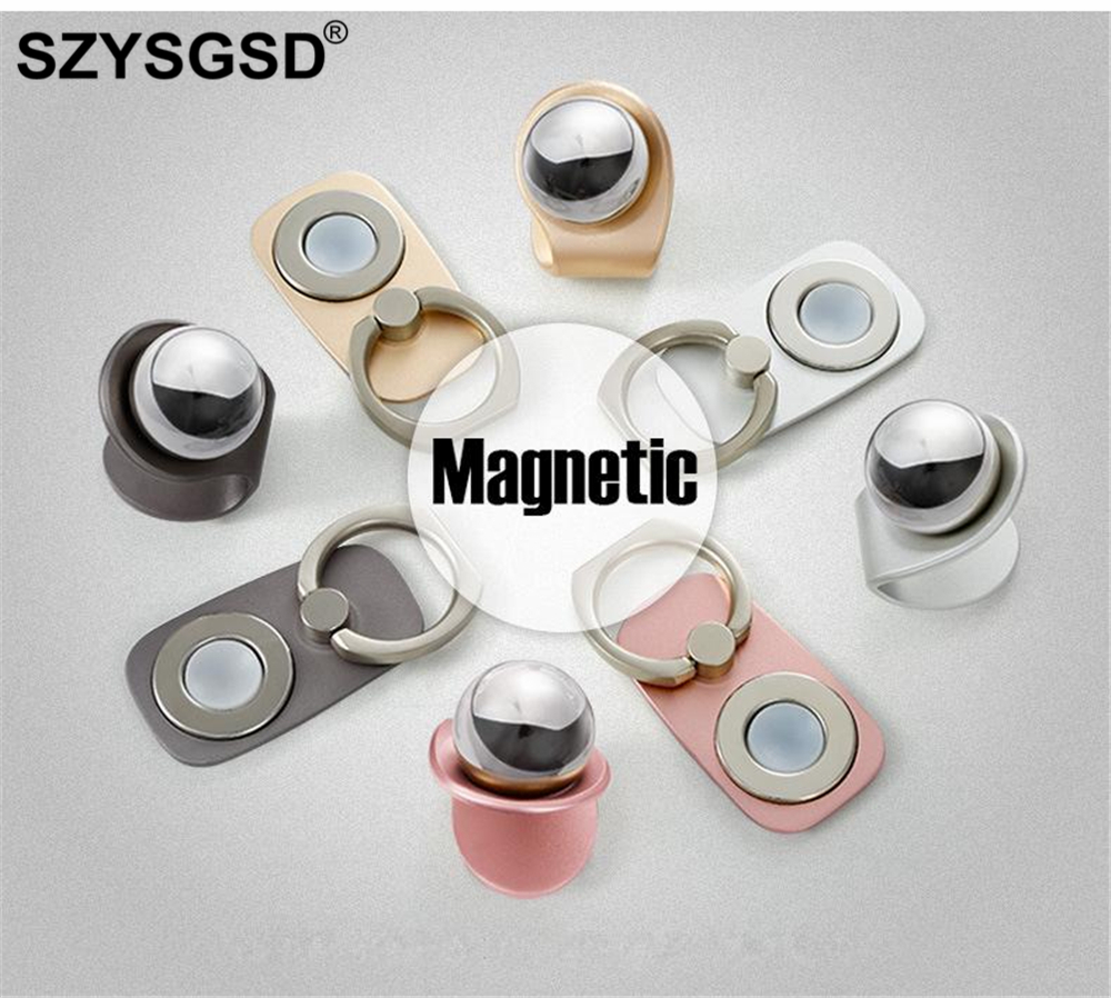 SZYSGSD Magnetic 2 in 1 Mobile Car Stand Mount 360 Rotation Finger Ring Grip Cell Phone Holder for iPhone Huawei Xiaomi