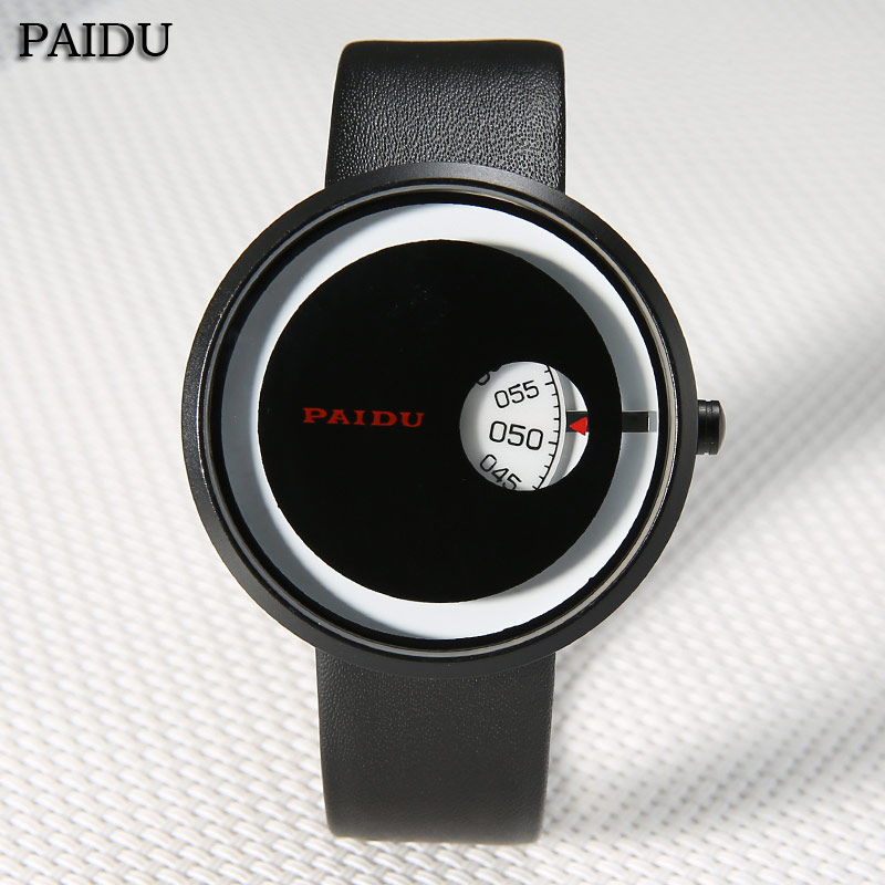 2016 PAIDU New Unique Design Mens Quartz Watches Leather Band Turntable Special Design Casual WristWatch Mens Relogio Relojes
