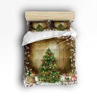 クイーンサイズ寝具セット-クリスマスツリーホリデープレゼントヴィンテージスタイル布団カバーセットベッドカバー用子供/キッズ4ピー