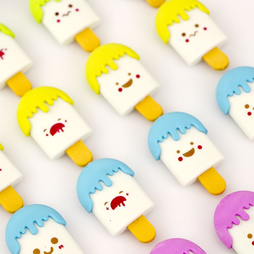 High Quality Kawaii Eraser Ice Cream Eraser Smile Face Erasers Rubber For Pencil Kid Funny Shool Office Supplies