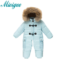 Mioigee 2017 New Winter jumpsuit newbaby boy girl walking clothing 0-2years baby down rompers Animal fur collar removable cap