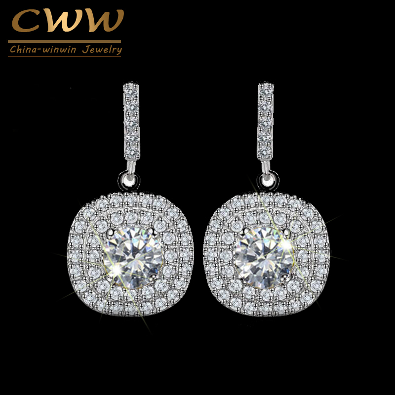 CWWZircons Mirco-Paved Full Cubic Zirconia Crystal Square Yellow Green Pink Dark Blue Stone Drop Earrings for Women CZ045