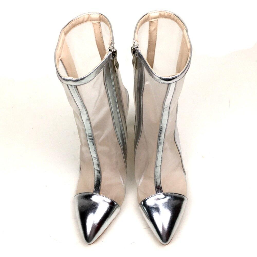 Primavera Talón Malla Y Alto Aiyoway Botas ~ Moda Las Cremallera Mujeres Punta 13 Vestido Del Fiesta Tamaño Otoño Zapatos Tobillo Señoras De 5 CXXwPpq