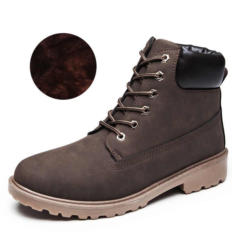 Winter Mannen Laarzen PU Outdoor Sneeuw Enkellaars Mannelijke Lace Up Anti-slip Laarsjes Britse Sneakers Plus Size 46 zapatos De Hombre