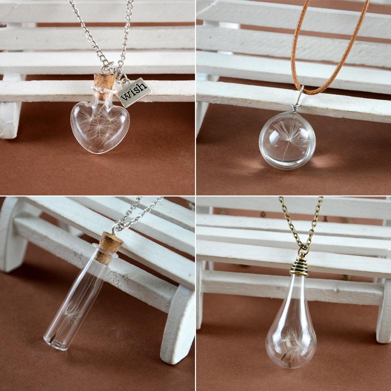 Dandelion bulb wish Vial Necklaces