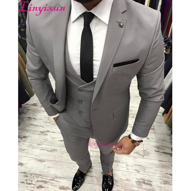 Linyixun Groom Tuxedos Prom 3 Piece Suits Men Wedding Suit Best Man