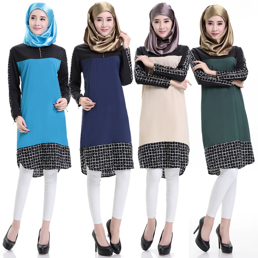 2015 Fashion High Quality Islamism Girl's Top Casual Chiffon Shirt Long Sleeve Blouses Tops For Muslim Women Clothing
