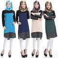 2015 manera de la alta calidad El Islamismo top camiseta de la muchacha ocasional de la gasa camisa de manga larga blusas tops tallas grandes para las mujeres musulmanas ropa
