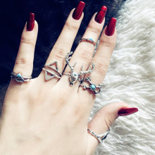 New fashion accessorie vintage silver color elk deer arrow finger ring set 1lot=7pieces for women girl nice gift R4043