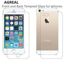 2Pcs Front + Back Tempered Glass For iPhone 4 4s 5 5s 5c 6 6s 7 plus 6 plus Rear Screen Protector Anti Shatter Film Free Shiping