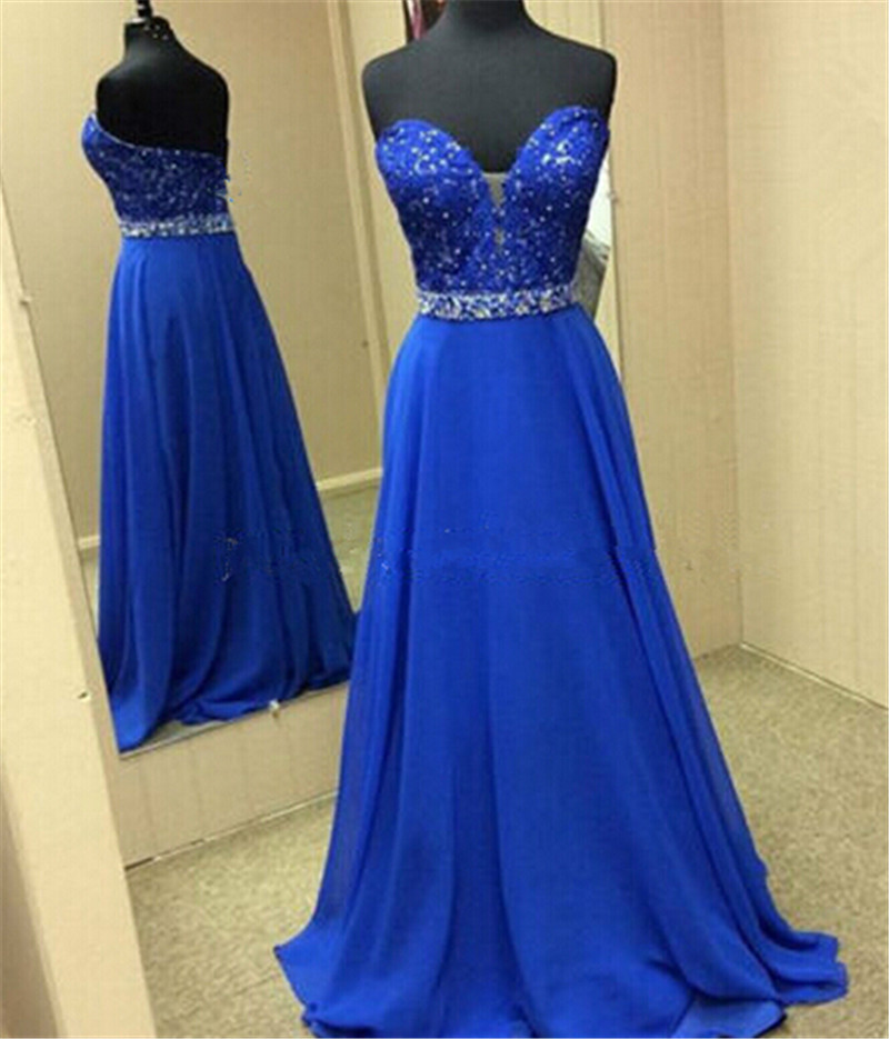 961fea11802 Royal Blue Long Evening Dresses Gowns 2019 Beaded Lace Sweetheart Sweep  Train Teens Girls Evening Party Dress Couture Custom-in Evening Dresses  from ...