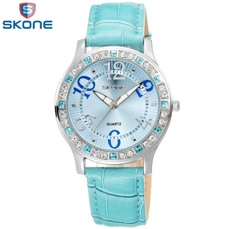 SKONE Fashion Crystal Diamond Woman Quartz Watch Blue Leather Belt Ladies Watches Wholesale Relogios Feminino Quartz Wristwatch машина каталка самосвал премиум 2