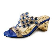New Women's Platform Sandals Summer 2016 Rhinestone Cutout Peep Toe Women Slides Office Shoes Square Medium Heel Slipper