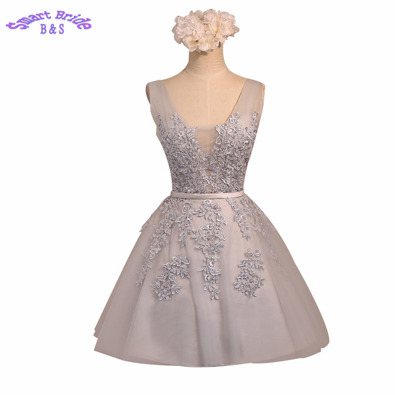 Short   Cocktail     Dresses   Tulle A-line Backless Formal Party Skirts Empire Waist Lace Appliques Skater Gowns Vintage CD2