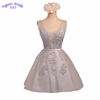 Short Cocktail Dresses Tulle A line Backless Formal Party Skirts Empire Waist Lace Appliques Skater Gowns Vintage CD2