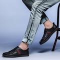 EU38-47 Класса Натуральной Кожи Повседневная Обувь Мужской Натуральная Кожа Мокасин Лоскутное Зашнуровать Мужчин Качество Обуви Платье Обувь Для Мужчин