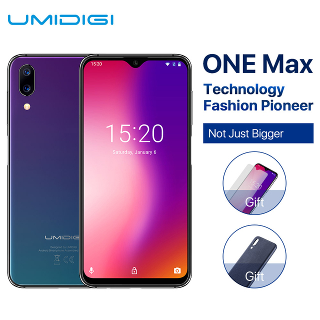 UMIDIGI One Max 4GB 128GB Max Android 8.1 Mobile Phone 6.3'' Face Unlock Fingerpringt ID Wireless Charge NFC OTG Dual 4G Phone