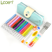 Looen Brand Crochet Hooks Set Yarn Knitting Needles Sewing Tools 12pcs Mix 2-8 mm With Scissors
