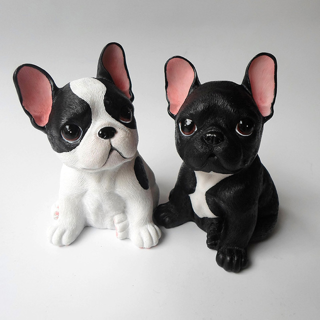 Small resin French Bulldog dog figurines vintage home decor crafts ...