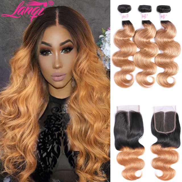 LanQi Ombre Bundles With Closure 1B/27 Two Tone Ombre Human Hair Weave Brazilian Body Wave 3 Bundles With Lace Closure 4*4 Pack