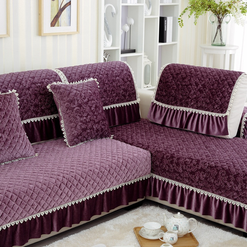 1pc Lace Decorative Purple Sofa Towel Sectional Sofa Covers Modern Camel  Seat Slipcover Cushion Couch Cover