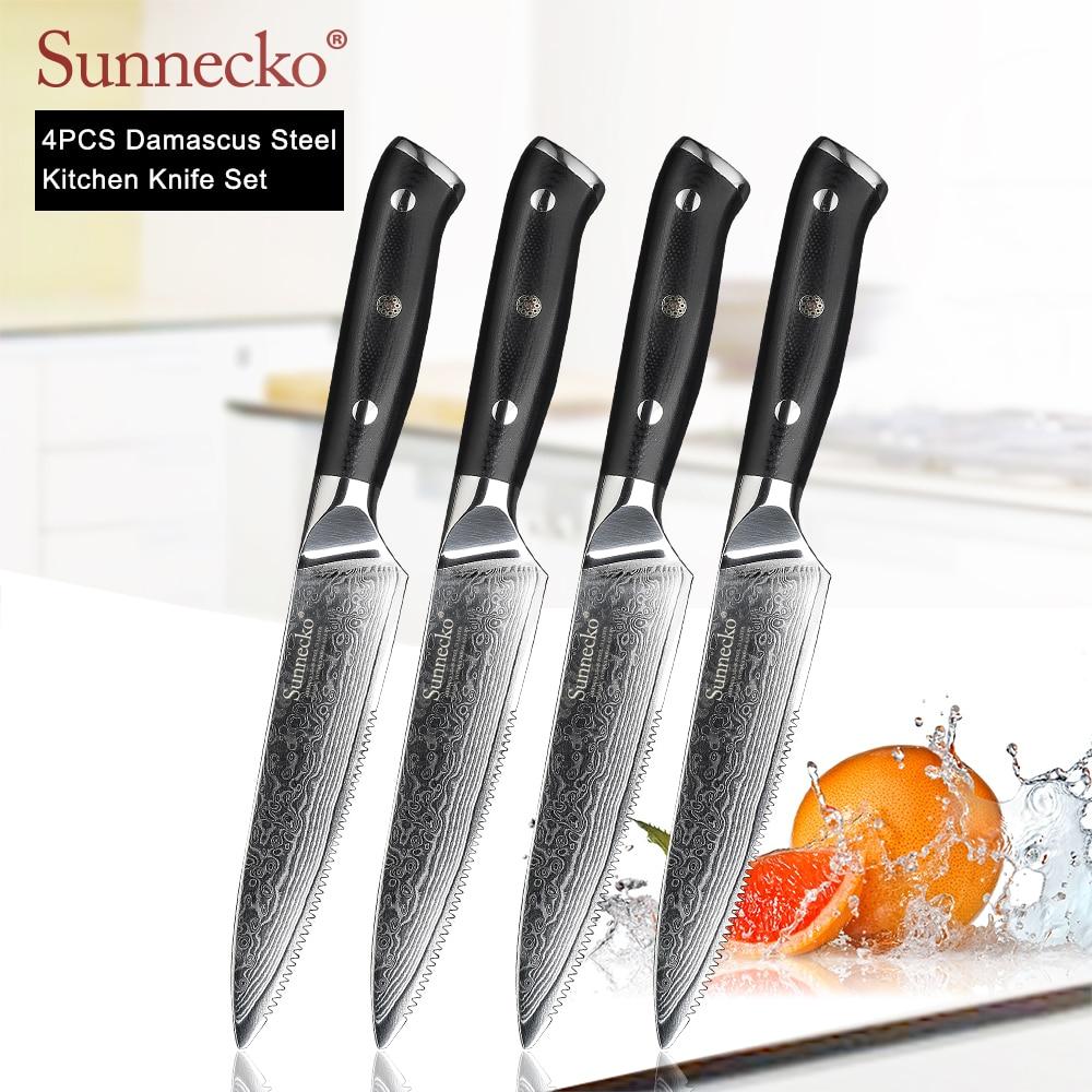 Sunnecko New 4pcs 5 Steak Knives 73 Layers Damascus Steel Japanese VG10 Blade Kitchen Knife H10