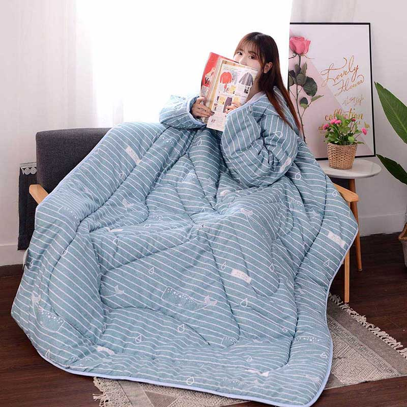 Multifunction Lazy Quilt With Sleeves Winter Warm Thickened Washed Quilt Blanket E2S