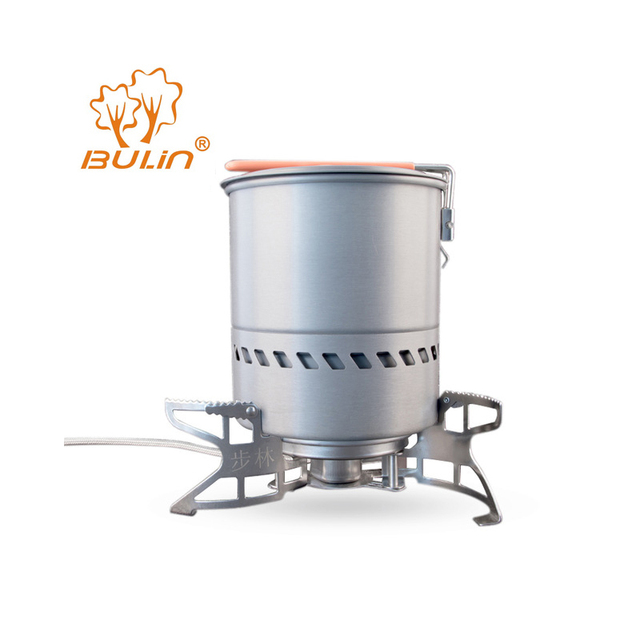 Bulin 1.5L Capacity Portable Outdoor Fast-Heating Pot Utensil Camping Cookware With Gas Stove for Camping Hiking Picnic