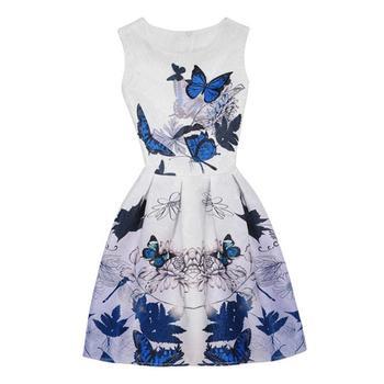 78239fcbfb6 Модные женские туфли летние Бабочка печать без рукавов с круглым вырезом  Плиссированные Тонкий Платья для вечеринок Новые