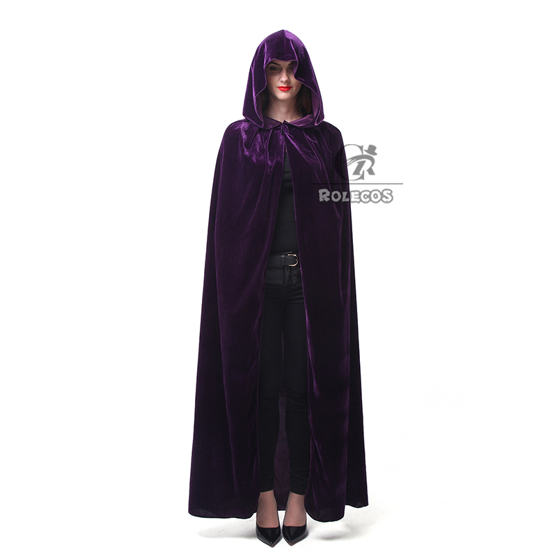 ROLECOS Hot Sale Halloween Cosplay Costume for Adult Long Purple Green Red Black Cloak Witch Wizards Hood with Capes Costume