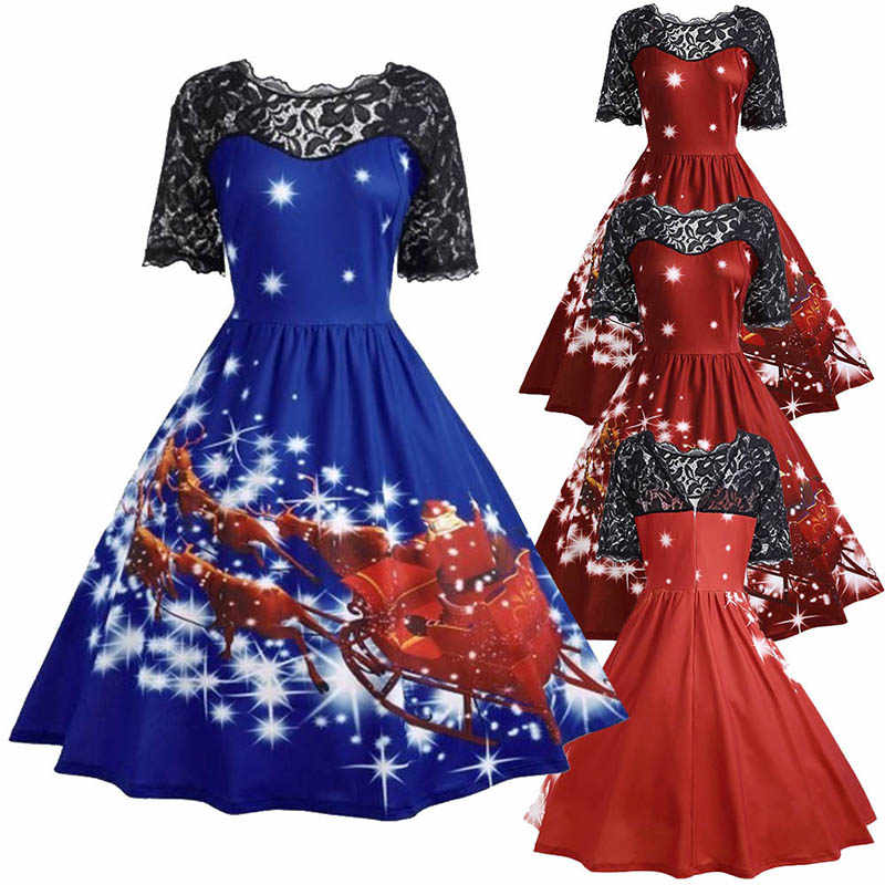 ... Women Vintage New Year Vestidos Lady Lace Patchwork A Line Party Dress  Santa Claus Printed Christmas ... 9d516ca166a4