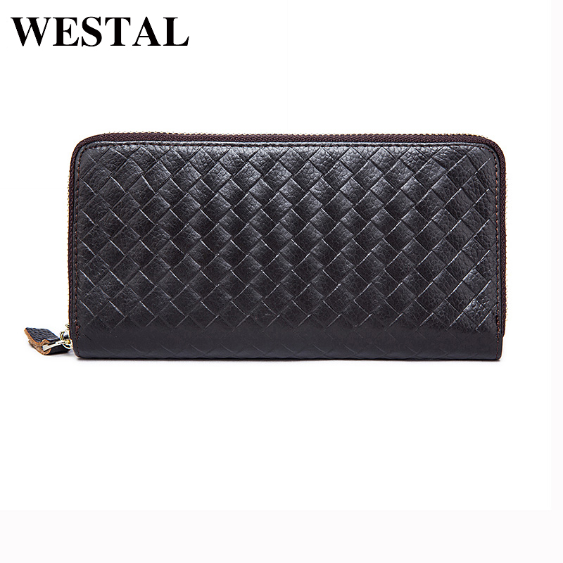 WESTAL Men's Genuine Leather Wallets Men Fashion Clutch Purse Male Long Wallet Small Leather Knitting Style Money Coin Bag 9067 genuine leather men business wallets coin purse phone clutch long organizer male wallet multifunction large capacity money bag
