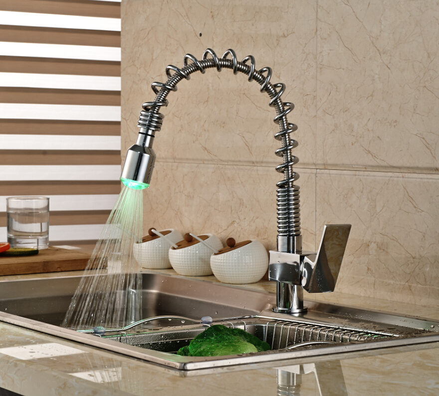 LED Spout Spring Kitchen Faucet Vanity Sink Mixer Tap Deck Mounted Hot and Cold Faucet