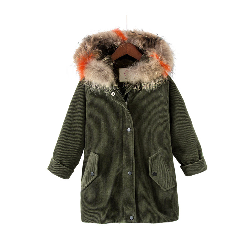 Children's Winter Jackets Fur Collar Hooded Down Parkas For Girls Coats Jackets Long Sleeve Thick Corduroy Kids Outerwear buenos ninos thick winter children jackets girls boys coats hooded raccoon fur collar kids outerwear duck down padded snowsuit