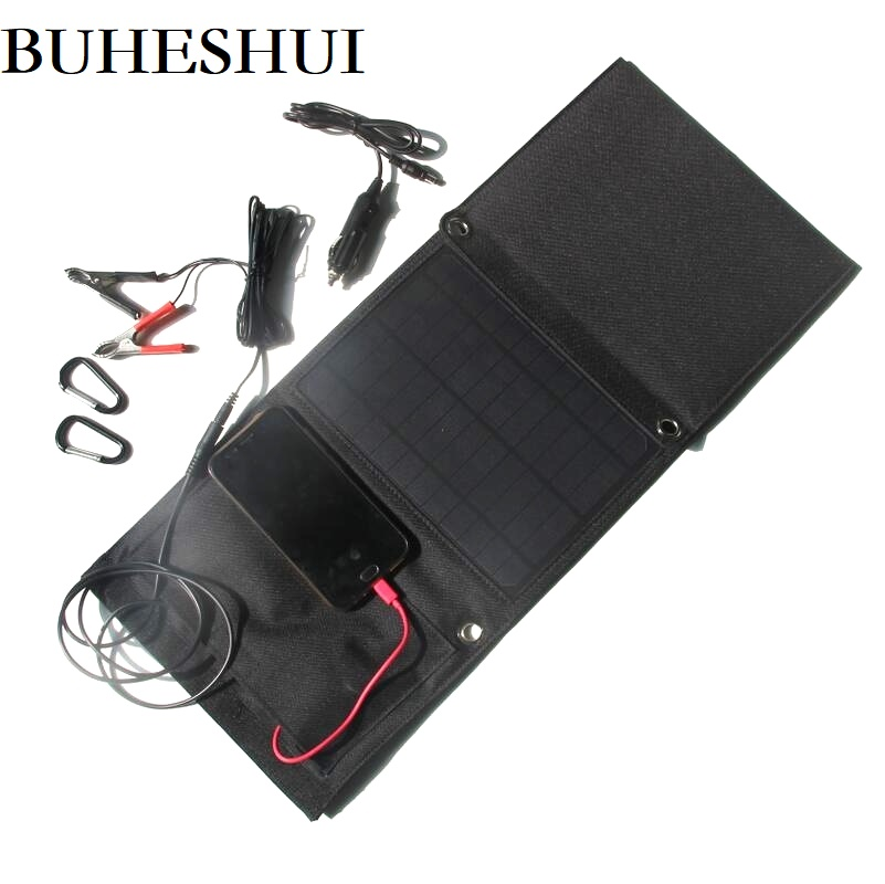 BUHESHUI 21W 12V/18V/5V Foldable Solar Panel Charger For Mobile Pohone/12v Battery Car Charger Dual USB+DC Output Free Shipping free shipping 1pc lot 18w 18v foldable solar battery charger for laptop with usb voltage controller for mobilephone mp3 psp