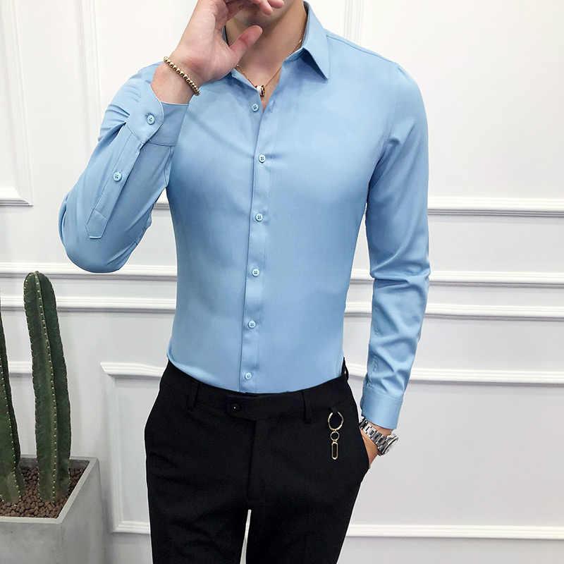 Мужские рубашки с длинным рукавом высокого качества, однотонная формальная деловая рубашка, облегающая брендовая мужская рубашка с отложным воротником, 6 цветов