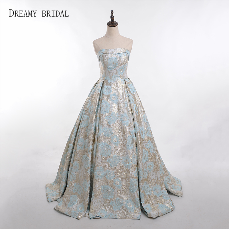Dreamy Bridal Jacquard Lace Evening Dresses Elegant Strapless Robe De  Soiree Ball Gown Formal Gowns With Pockets Custom Made 29c58e0bb7b7