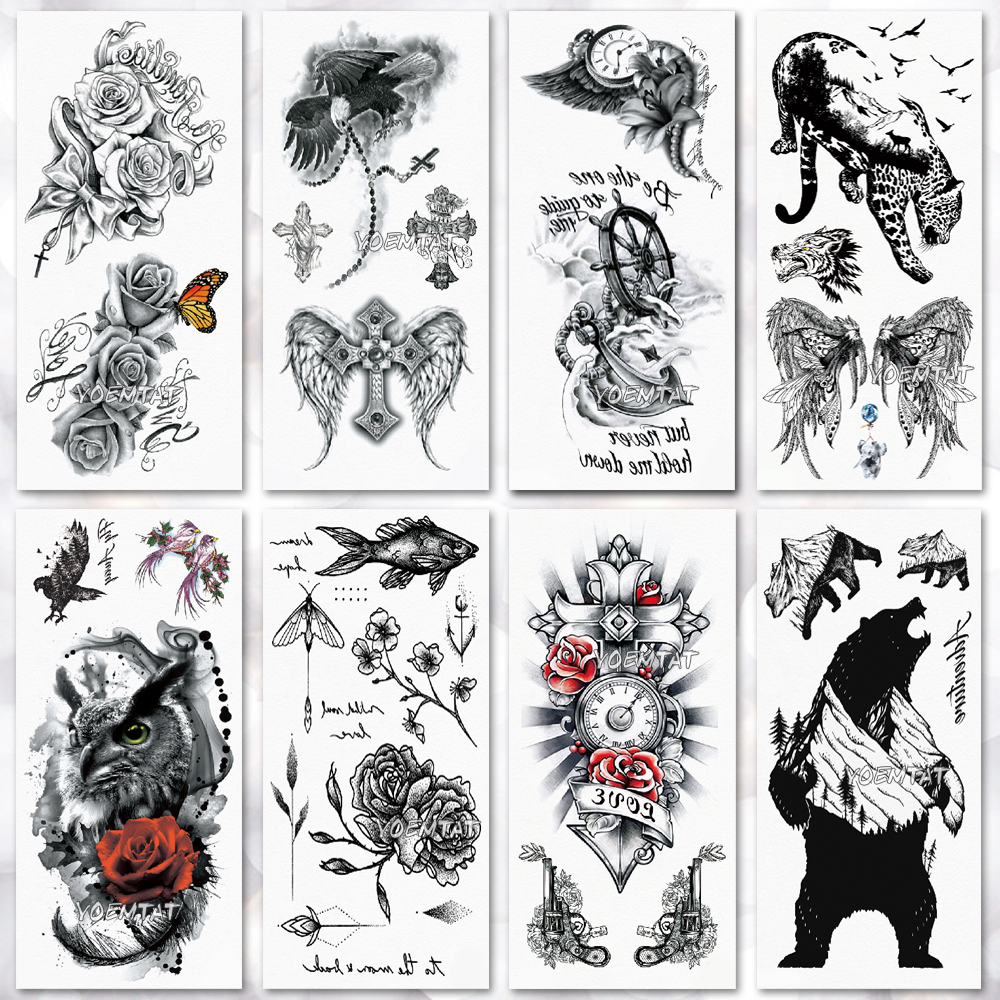 1 Piece Temporary Tattoo Sticker Water Transfer Wing: Water Transfer Watercolor Sketch Rose Owl Temporary Tattoo