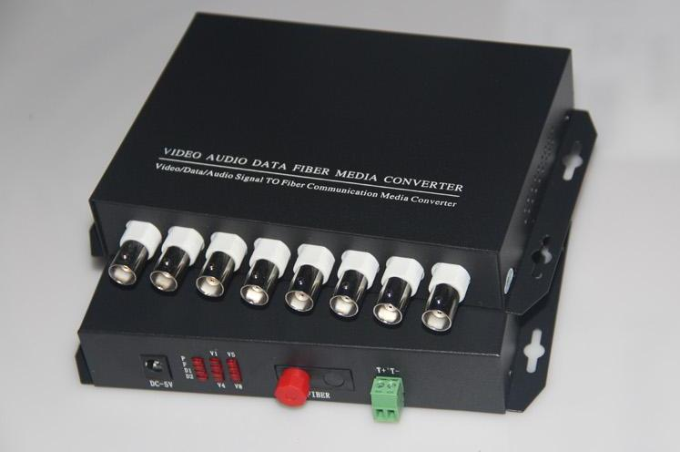 FedEx/DHL Free Shipping 1pair 8 Channel Video RS485 Data Fiber Optic Media Converter,with RS485 Single Mode 20Km