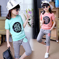 Free shipping Children clothing girls suit children's summer models letters printed suit