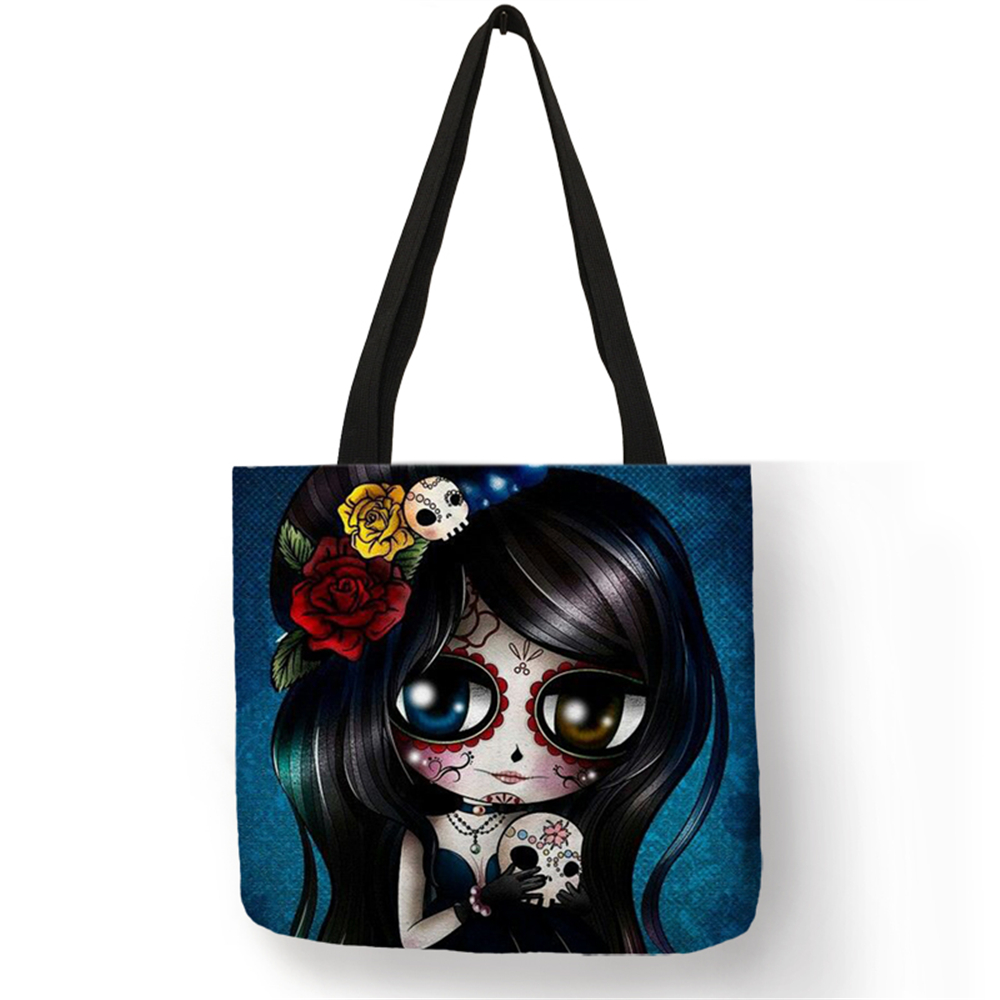Unique Sugar Skull Print Tote Bags For Women Traveling Shopping Bags Lady Printed Handbags