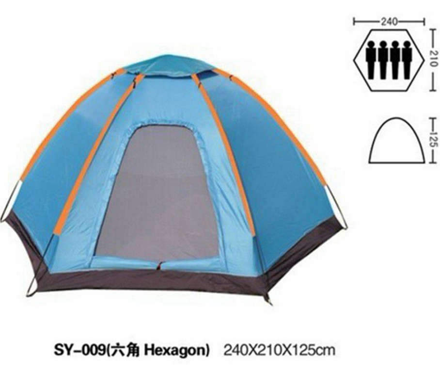 Outdoor camping tourism hexagonal tent waterproof single layer storey beach tents 3-4 person UV Protection gazebo sun shelter high quality single layer ultralarge 4 8person family party gardon beach camping tent gazebo sun shelter mesh mosquito tent